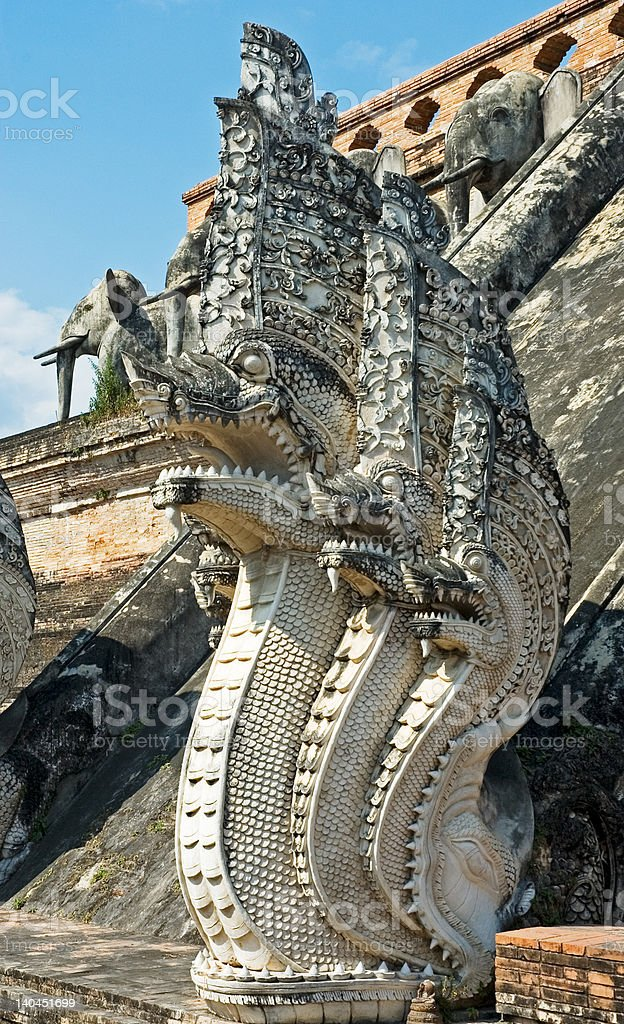 Sculpture of naga – mythical creature in eastern mythology royalty-free stock photo