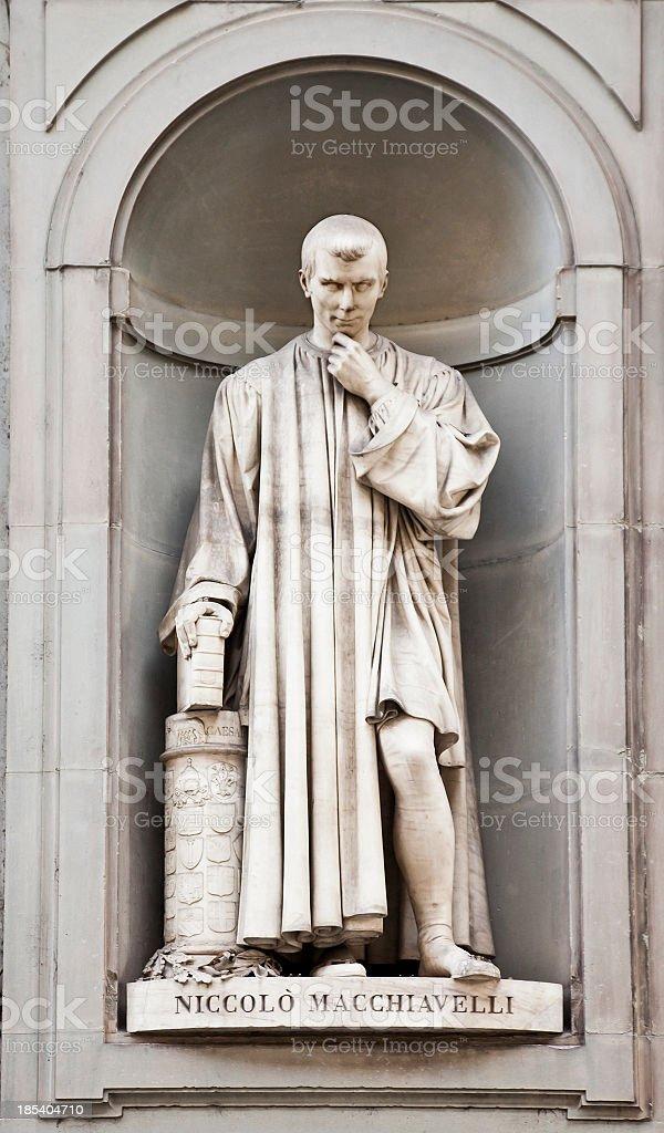 Sculpture of Niccolo Machiavelli outside the Uffizi Gallery, Florence royalty-free stock photo