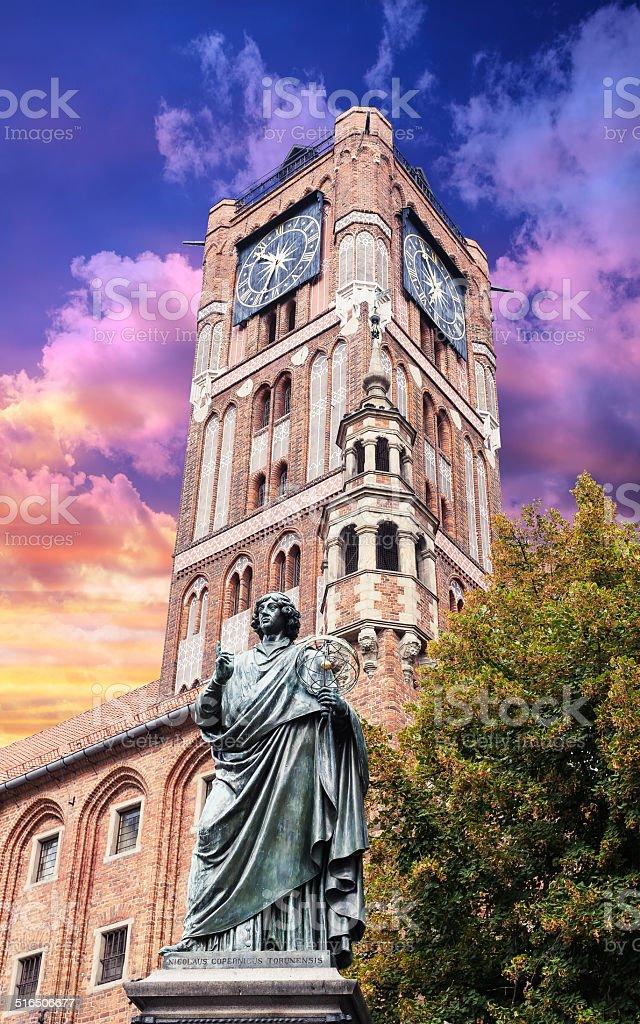 Sculpture of Nicolaus Copernicus in Torun. stock photo