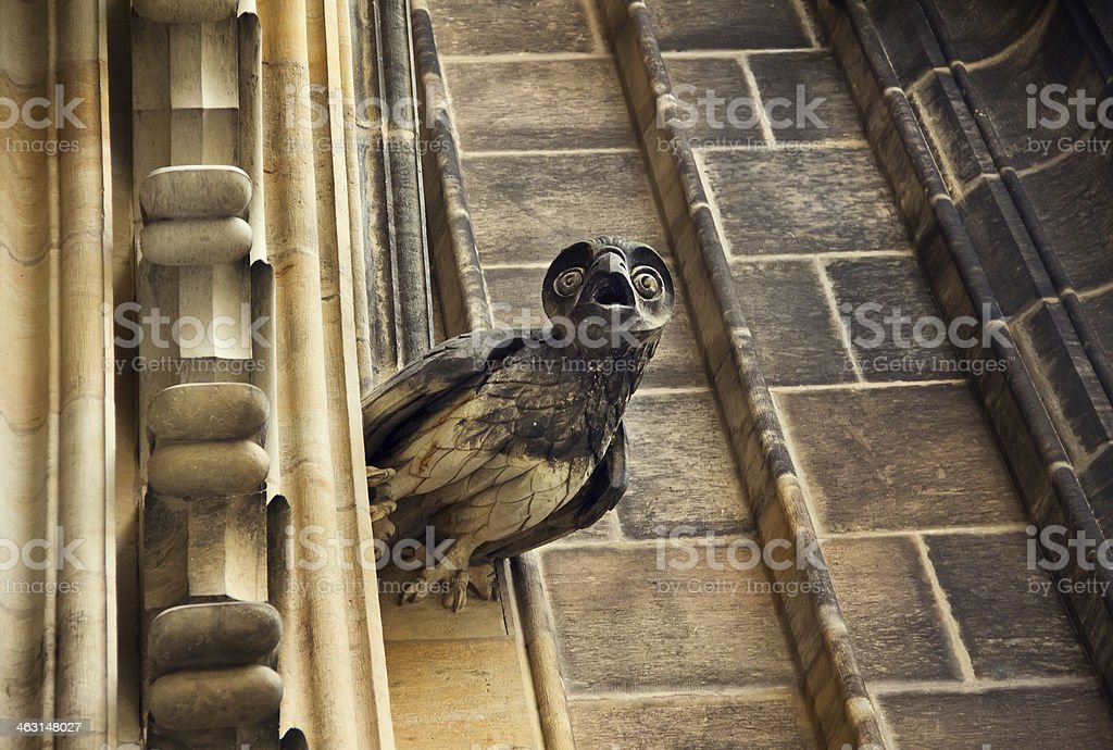 Sculpture of owl on facade Sculpture of owl on facade of The Saint Vitus cathedral in Prague, Czech Republic Ancient Stock Photo