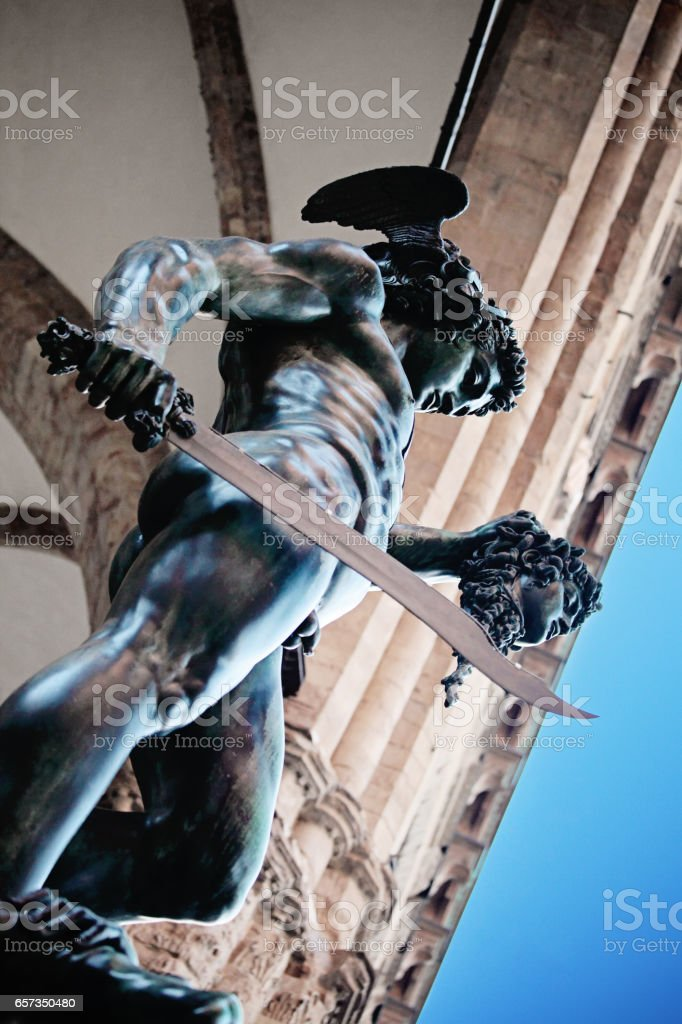 Sculpture of Perseus with the Head of Medusa in Loggia dei Lanzi, Florence, Italy stock photo
