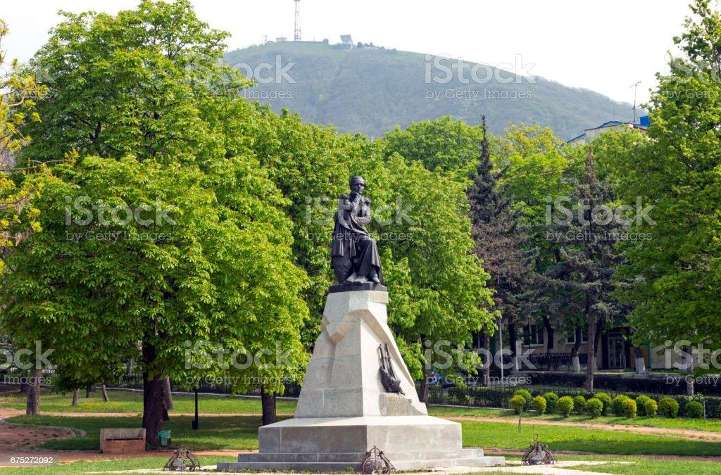 Sculpture of Poet Lermontov stock photo