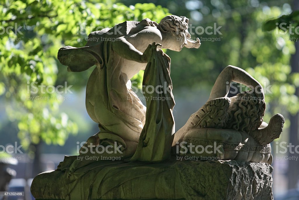 Sculpture of Psyche and Cupid in Summer Garden (St. Petersburg) royalty-free stock photo