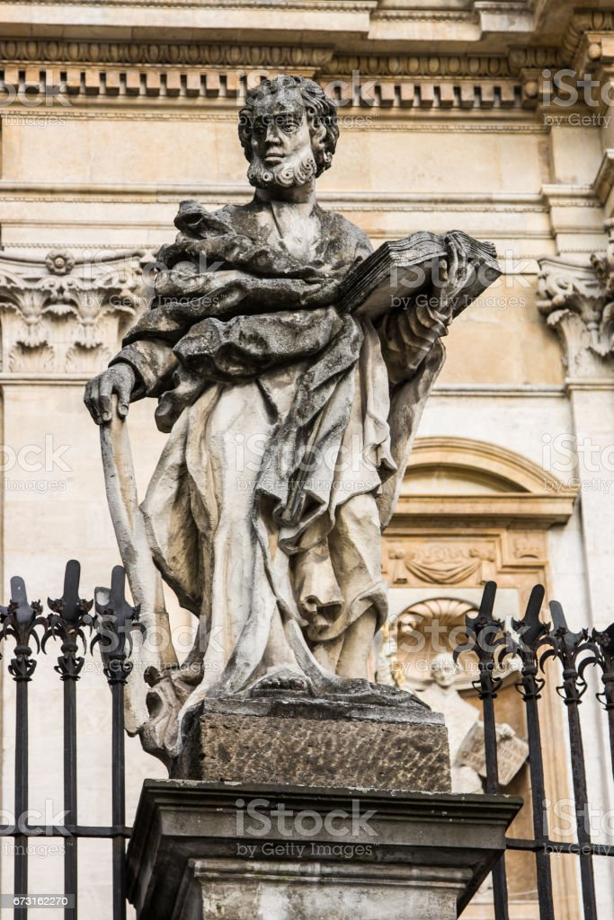 Sculpture of saints at Church of the Apostles St. Peter and Paul in Old Town of Krakow in Poland stock photo