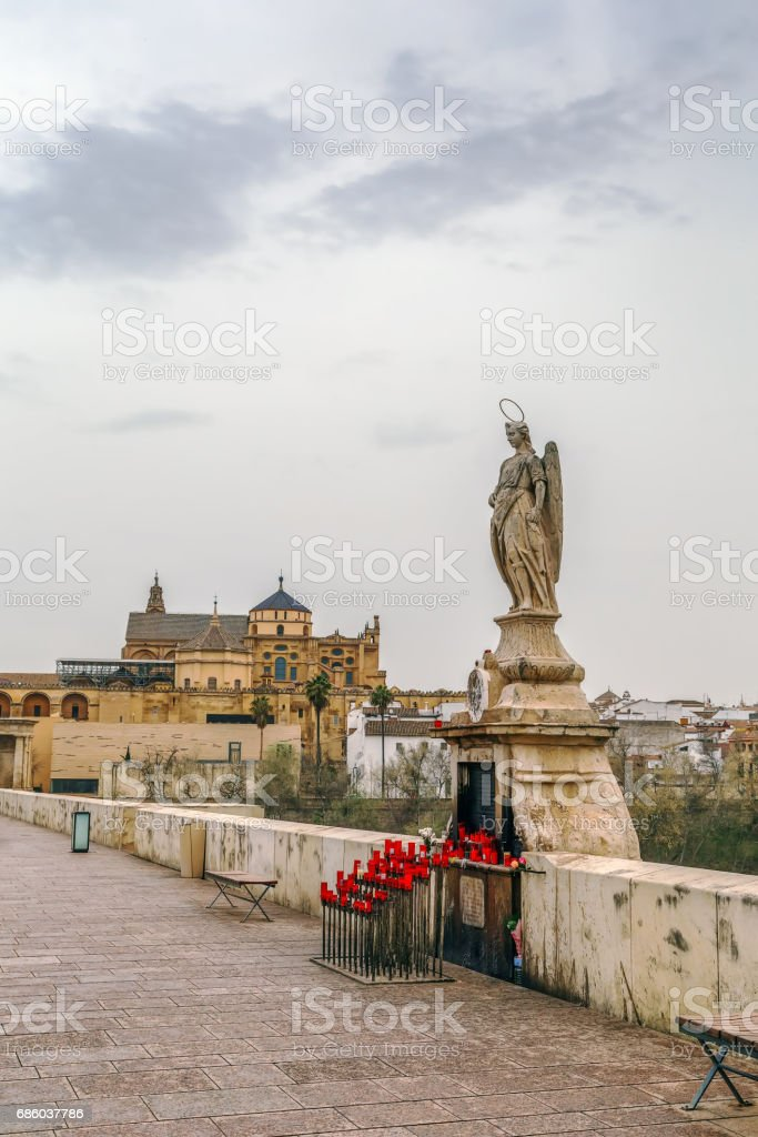 Sculpture of St. Raphael, Cordoba, Spain - foto de acervo