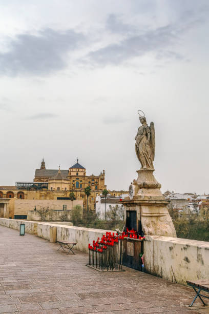Sculpture of St. Raphael, Cordoba, Spain - foto de acervo