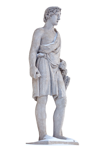 Sculpture of the ancient Greek god Adonis isolate. Adonis was a God of beauty, desire and vegetation. Sculptor S. S. Pimenov. Created in 1822, the location of St. Petersburg, Elagin Island.
