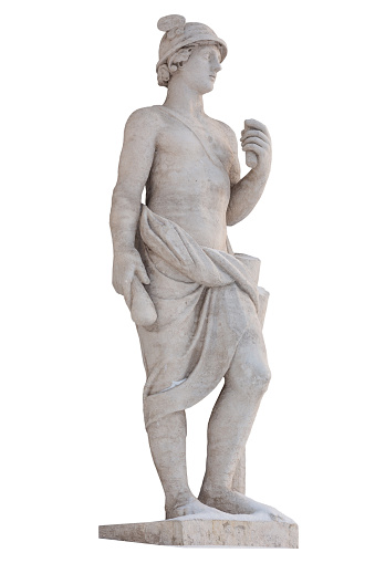 Sculpture of the ancient Greek god Mercury isolate. Mercury was a messenger and a god of trade, profit and commerce. Sculptor S. S. Pimenov. Created in 1822, the location of St. Petersburg, Elagin Island.