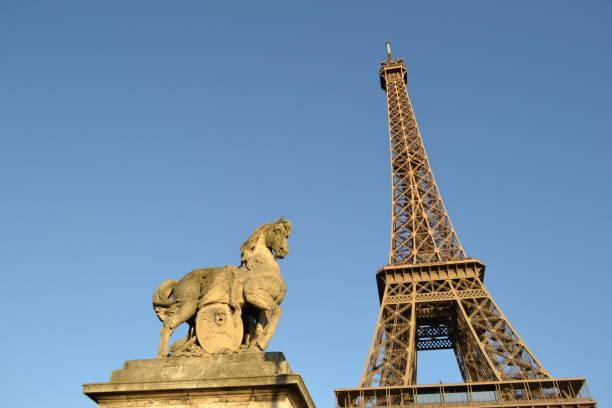 Sculpture of the horse on the Jena bridge in Paris. stock photo
