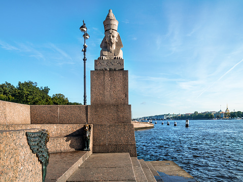 Sculpture of the Sphinx on the embankment of the Neva River in the city of St. Petersburg