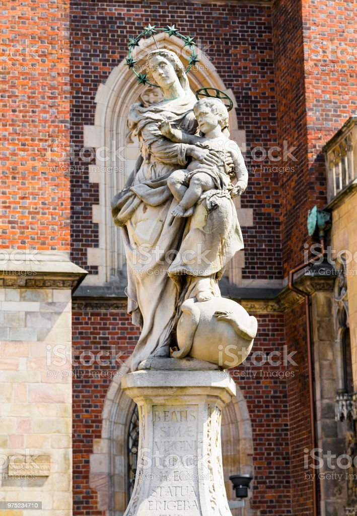 Sculpture of the Virgin and Child stock photo