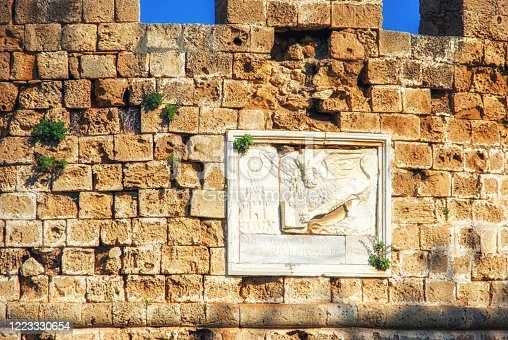 Sculpture of the winged lion of St Mark in Famagusta,Cyprus.
