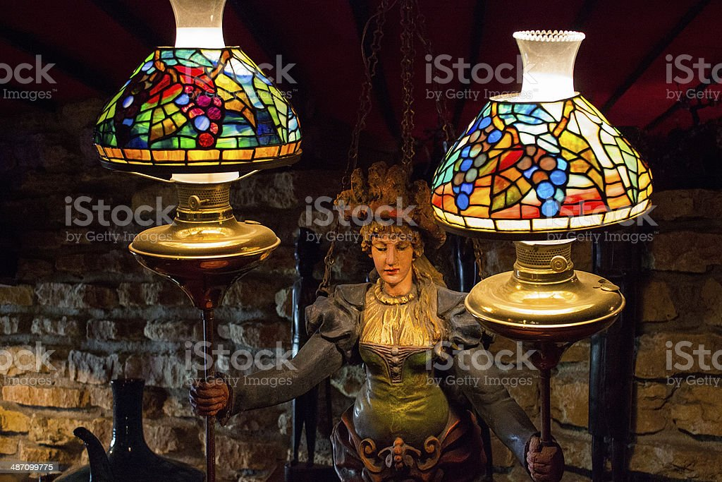 Sculpture Of Victorian Woman Holding Stained Glass Lamps Stock Photo Download Image Now Istock