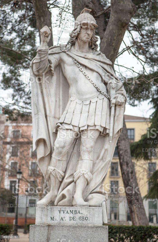 Sculpture of Wamba King at Plaza de Oriente, Madrid, Spain stock photo