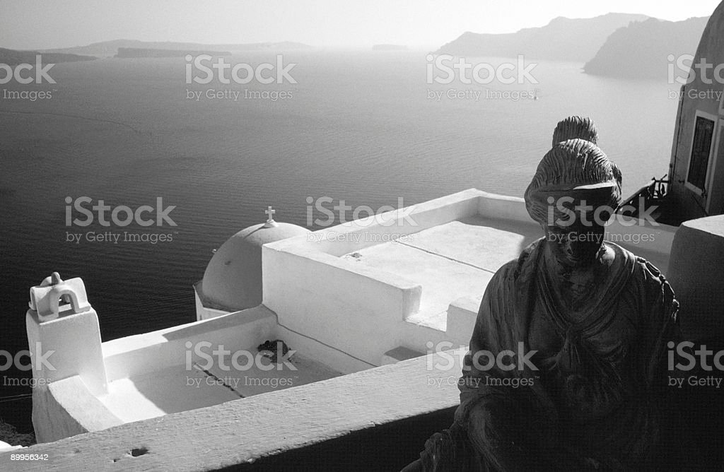 Sculpture on Balcony, Oia, Santorini, Greece stock photo