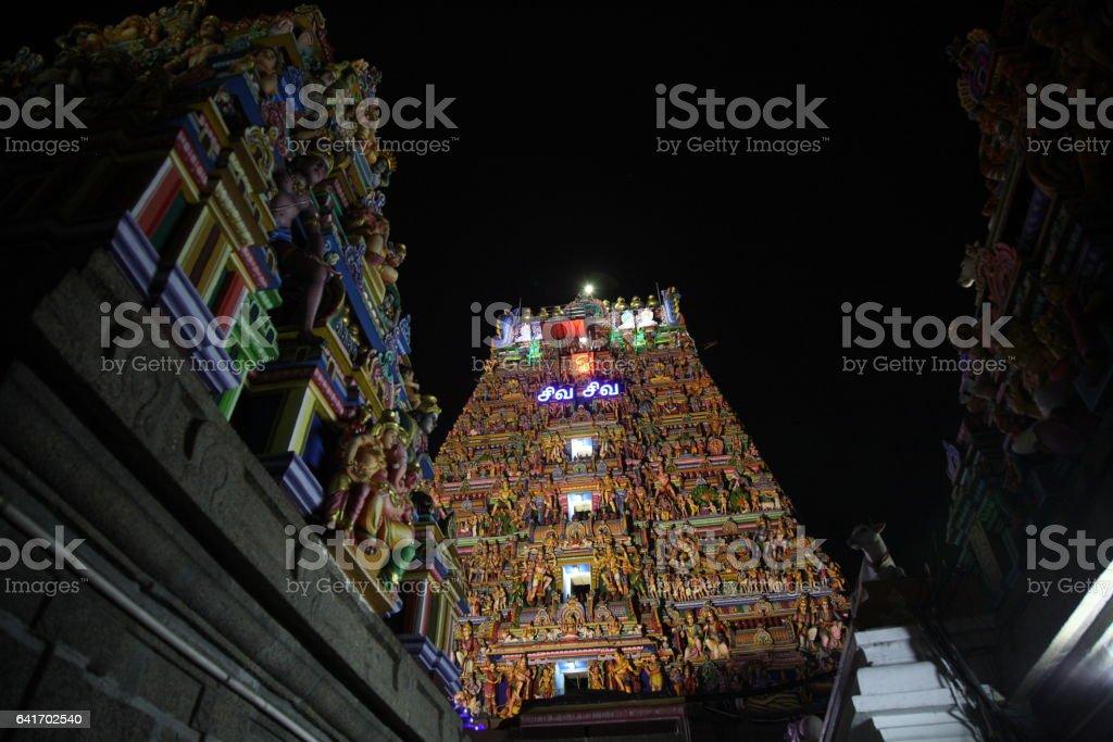 Sculpture on Kapaleeswarar Temple in Chennai, India stock photo