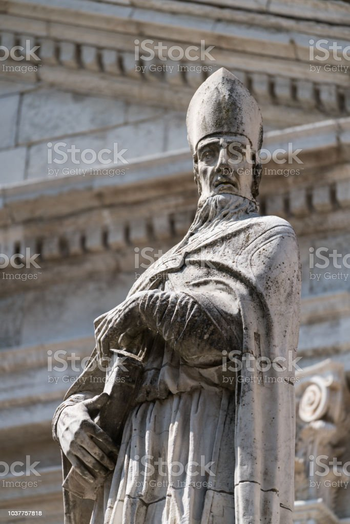 Sculpture on the roof of the Cathedral. stock photo