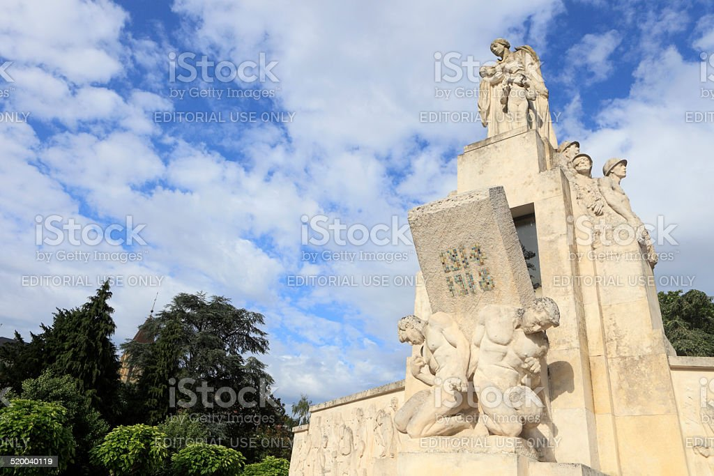 sculpture on the war memorial in Vierzon stock photo