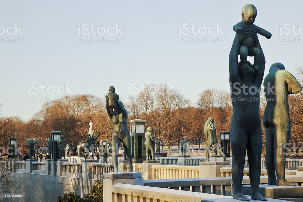 Sculpture park in Oslo at sunset. stock photo