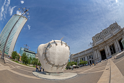 Sculpture The Reintegrated Apple by Michelangelo Pistoletto, Milan, Italy