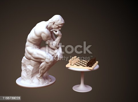 istock Sculpture Thinker Pondering The Chess Game On Brown Background 1155739223