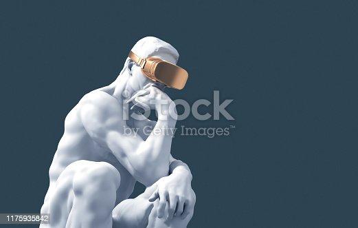 Sculpture Thinker With Golden VR Glasses On Blue Background. 3D Illustration.