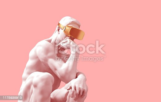 Sculpture Thinker With Golden VR Glasses Over Pink Background. 3D Illustration.
