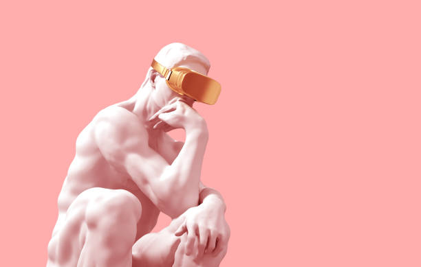 sculpture thinker with golden vr glasses over pink background - creative стоковые фото и изображения