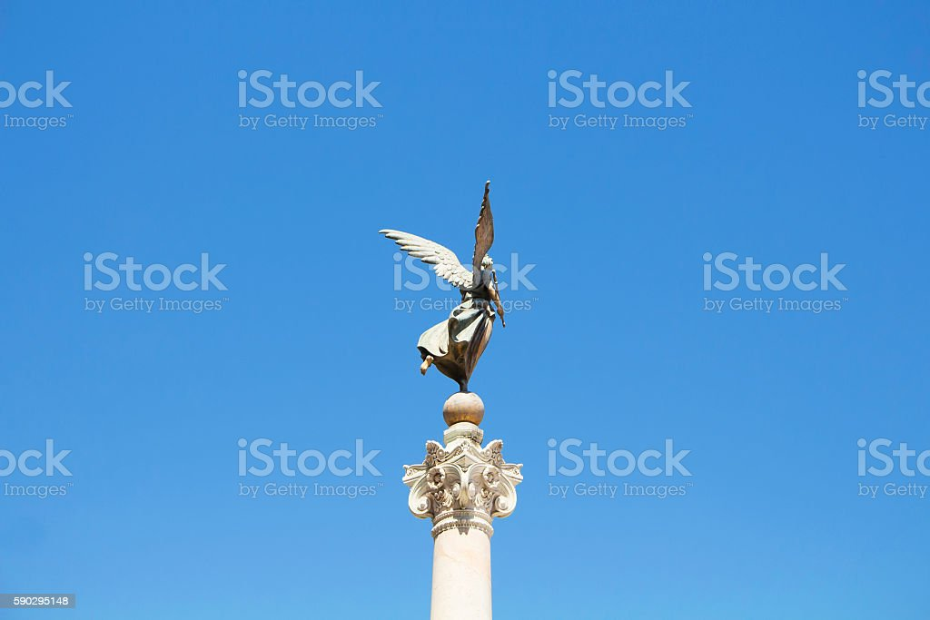 Sculpture with blue background in front of Altar of Fatherland Стоковые фото Стоковая фотография