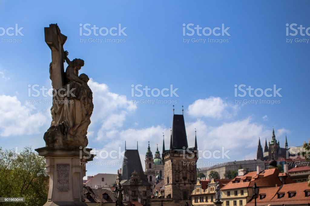 Sculpture with the Powder gate on the background, Prague stock photo