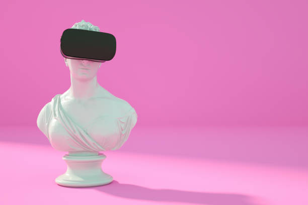 Sculpture With VR Glasses Headset on Pink Background stock photo