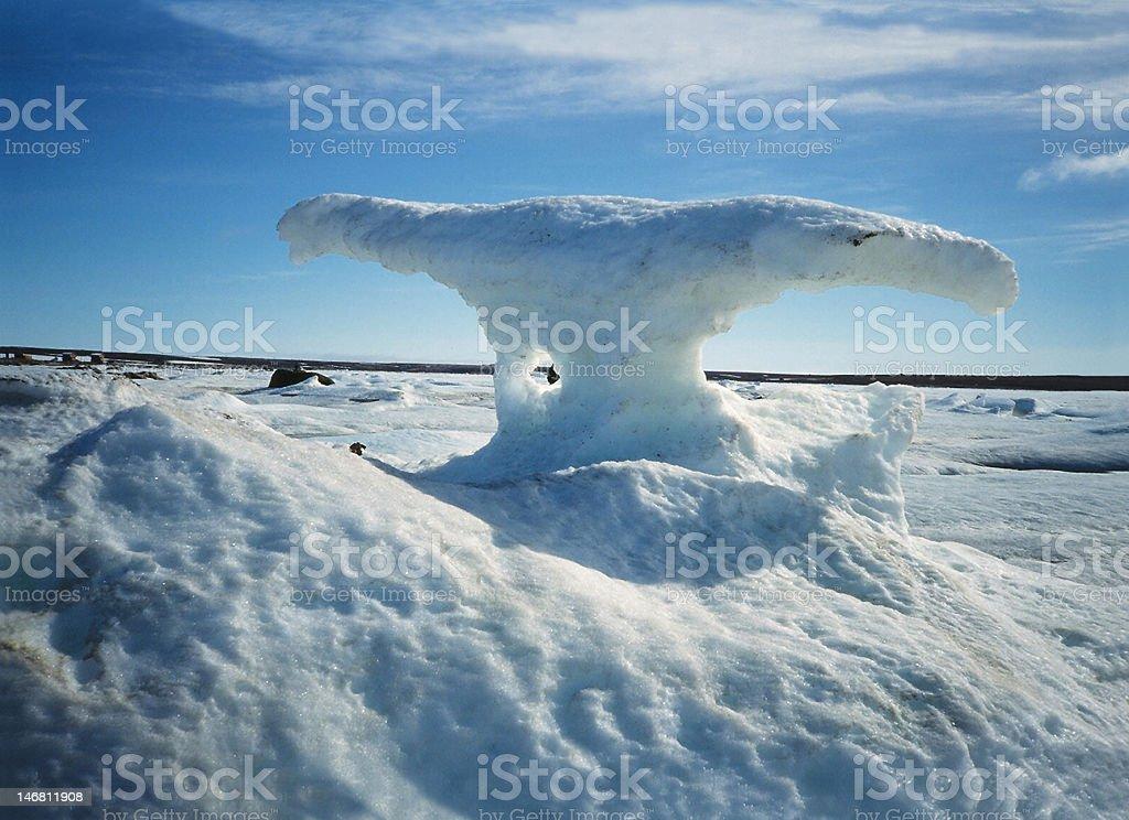 Sculptured ice on Baffin island stock photo