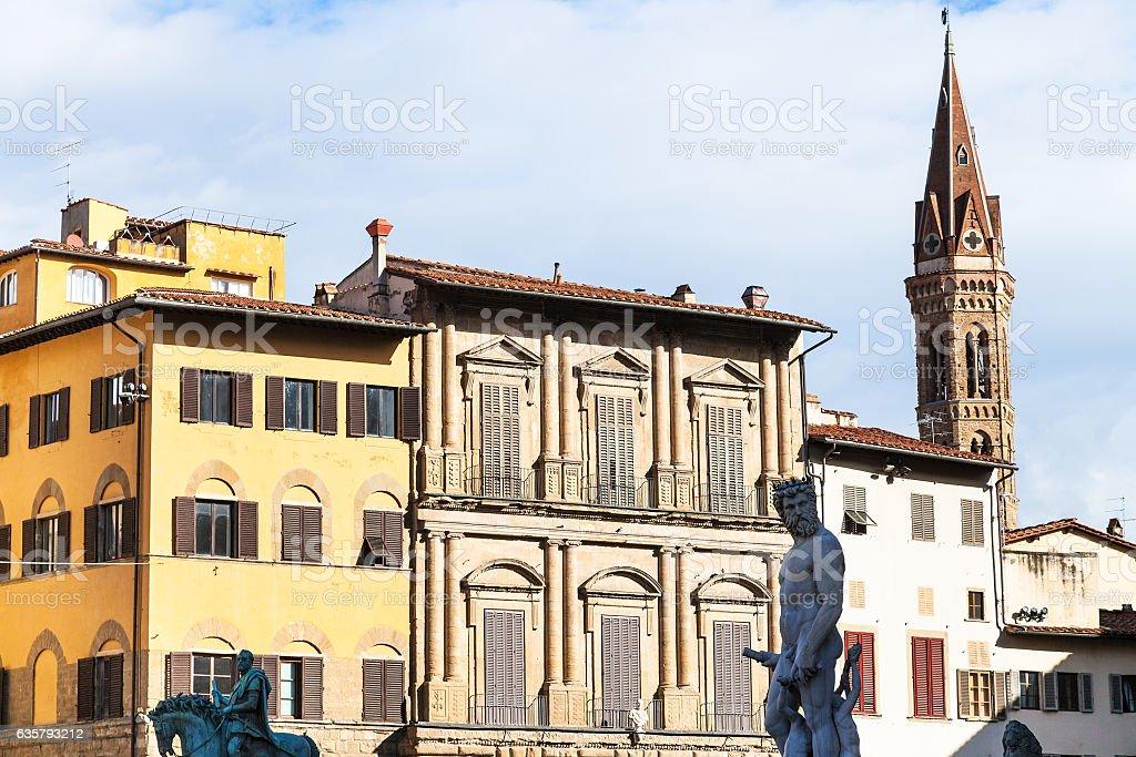 sculptures and houses on Piazza della Signoria stock photo