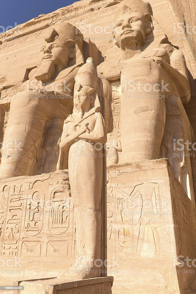 Sculptures at Abu Simbel Temple stock photo