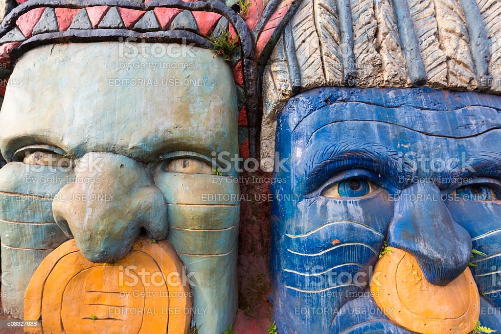 Sculptures depicting the Inca and Indian indigenous lifestyle stock photo