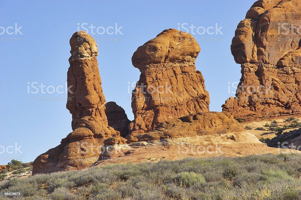 Sculptures from a red stone. royalty-free stock photo