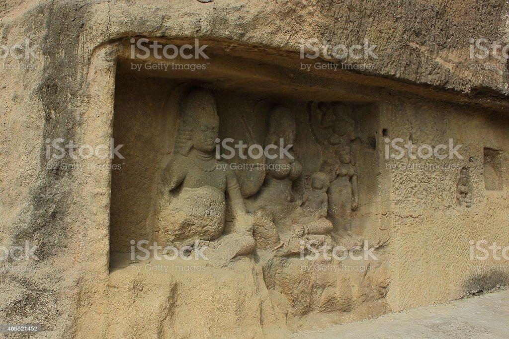 Sculptures in Ellora cave stock photo