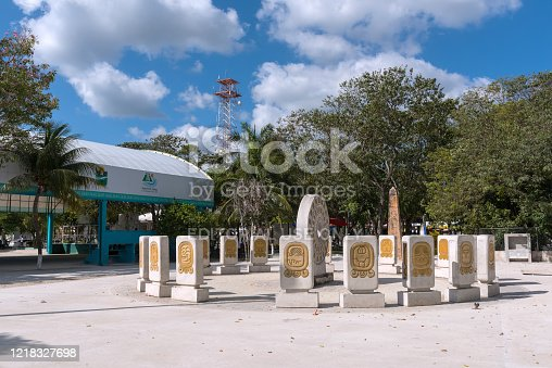 istock Sculptures in front of the Maya Park Culture Museum, Tulum, Quintana Roo, Mexico 1218327698