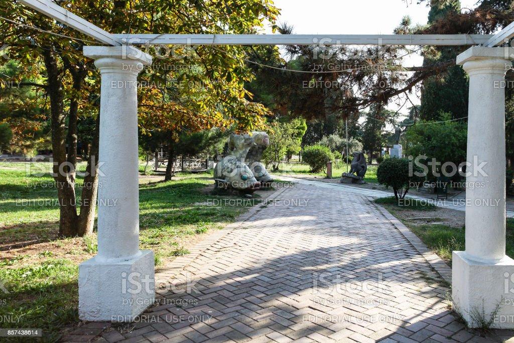 sculptures in green urban park in Alushta city stock photo