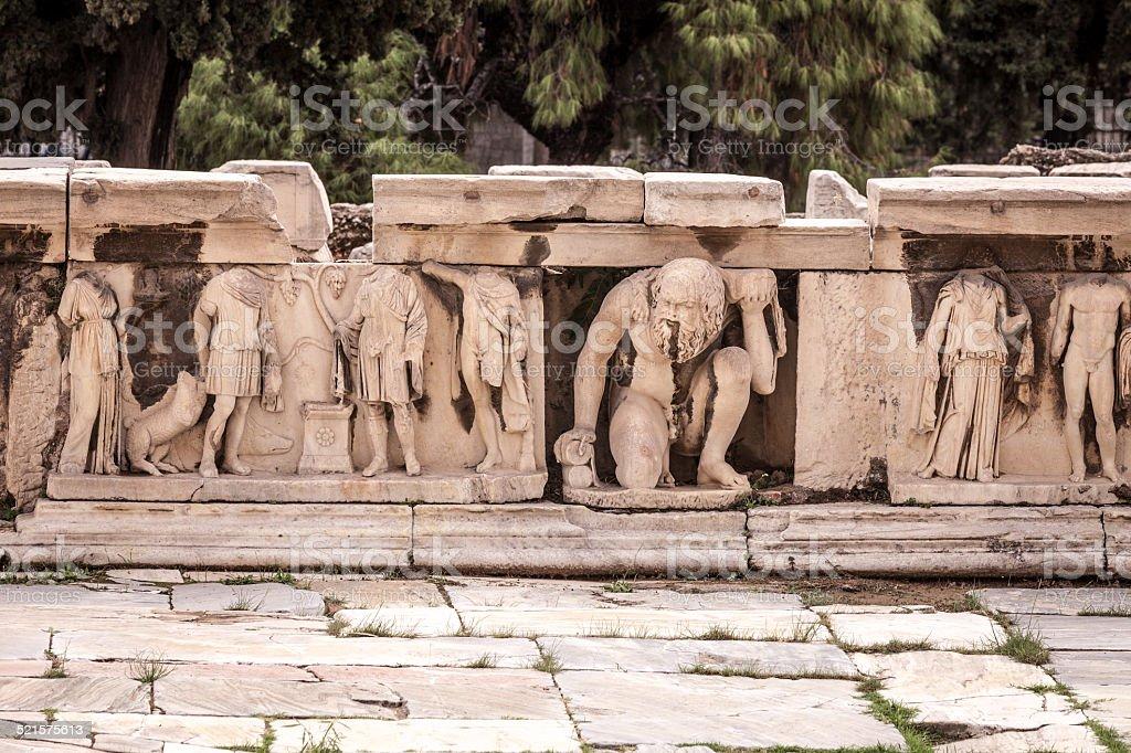 Sculptures in the Theatre of Dionysus stock photo