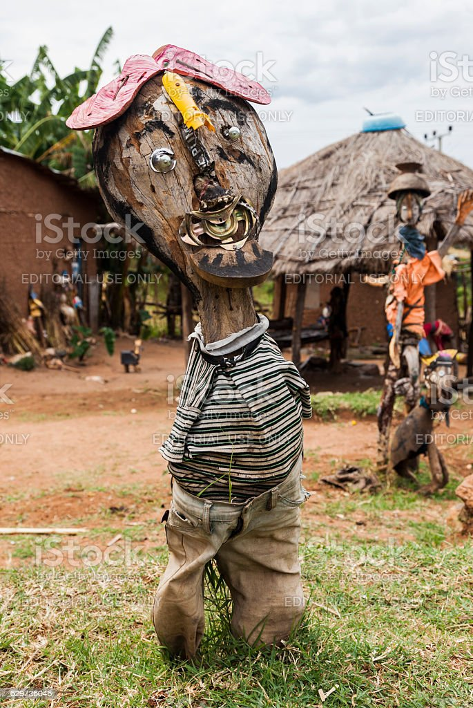Sculptures made from recycled materials. Omo Valley. Ethiopia. stock photo