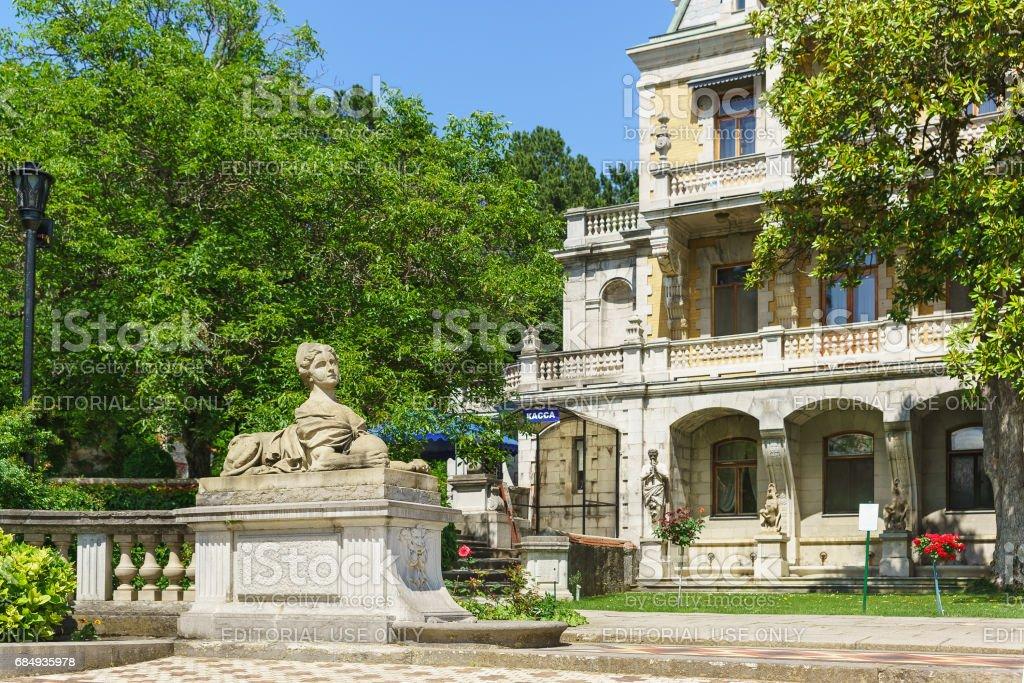 YALTA, CRIMEA, RUSSIA - JUNE 07.2016: Sculptures Massandra Palace of Emperor Alexander III . stock photo