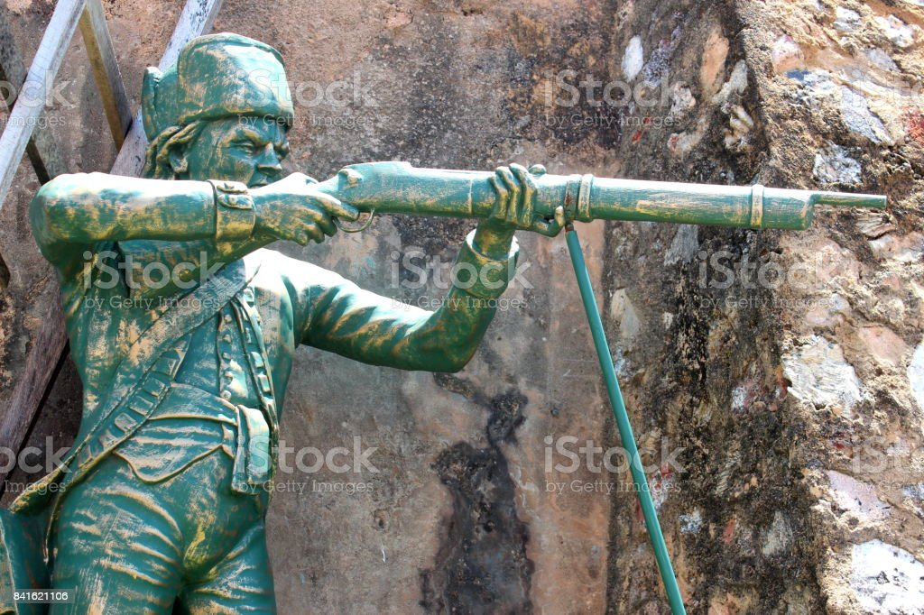Sculptures of ancient Dutch Galle Fort, Sri Lanka stock photo