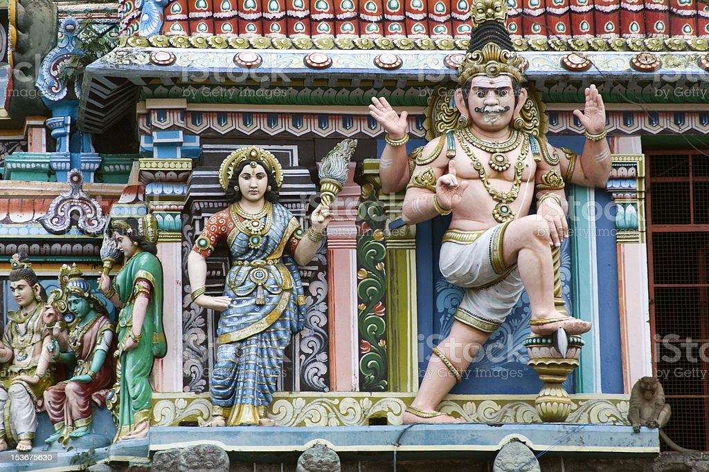 Sculptures of hinduist temple in South India stock photo