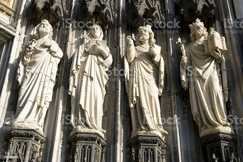 Sculptures of the Cologne Cathedral royalty-free stock photo