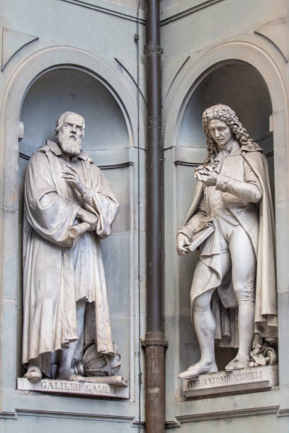 Sculptures of the Galileo Galilei and Pier Antonio Micheli, Florence, Italy Statues of Galileo Galilei and Pier Antonio Micheli in the cortile (internal courtyard), Uffizi Gallery, Firenze (Florence), Toscana (Tuscany), Italy galileo galilei stock pictures, royalty-free photos & images