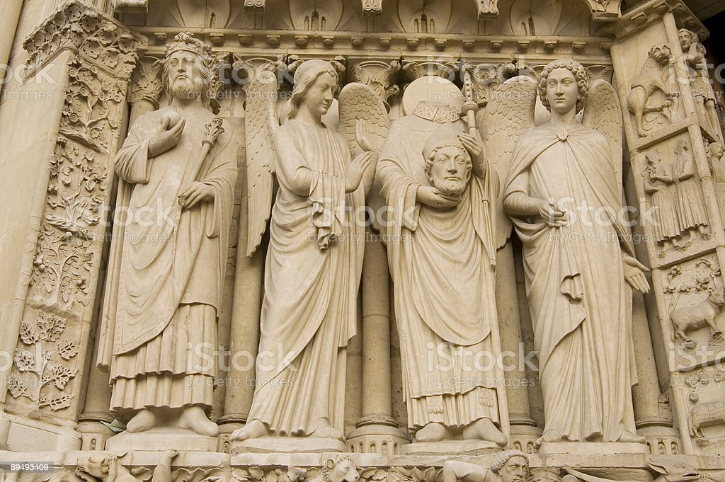 Sculptures of the Notre Dame royalty-free stock photo