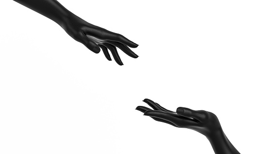 istock Sculptures of two female black hands isolated on white background, help and rescue concept, mannequin arms 1142658291
