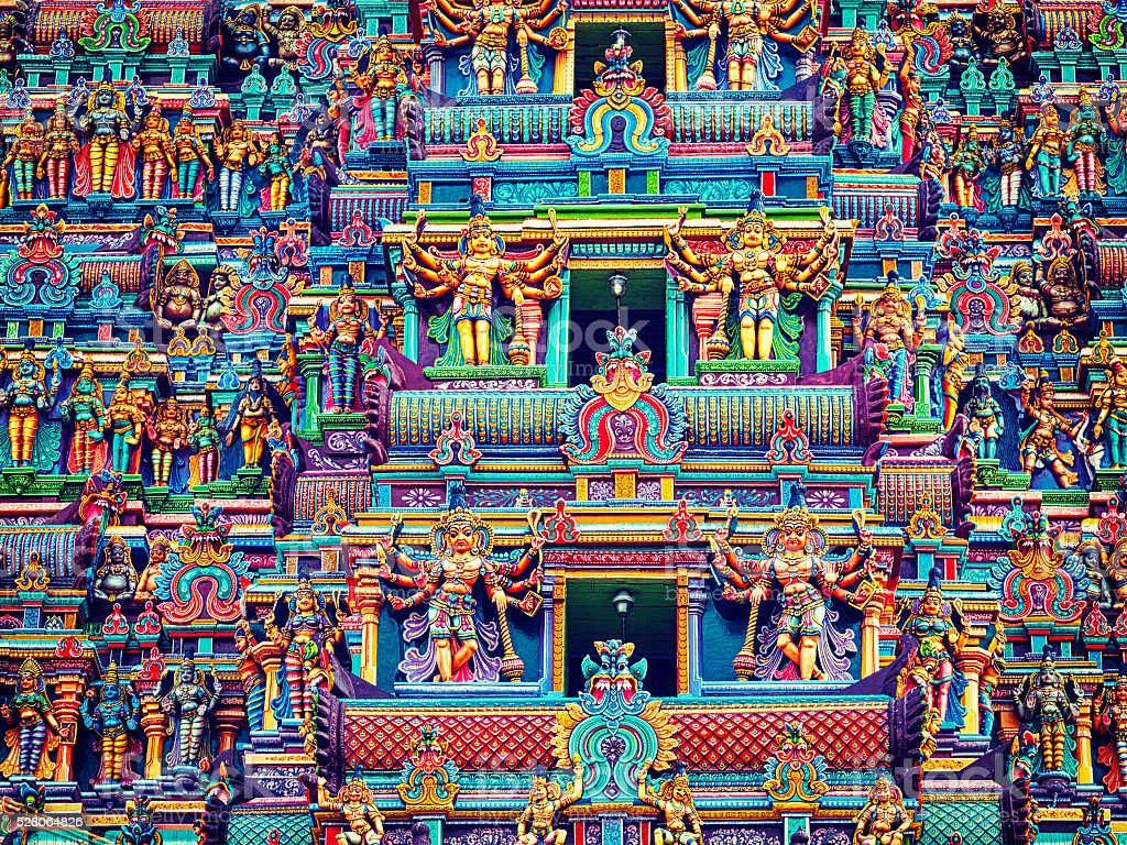 Sculptures on Hindu temple tower - Royalty-free Ancient Stock Photo