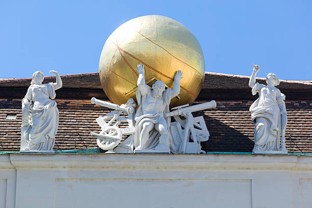 Sculptures on roof Austrian National Library stock photo